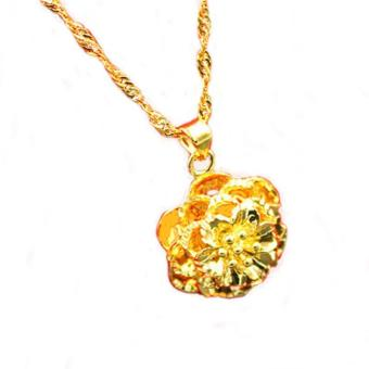 Harga MoNo 24K Gold Plated Luxury Flower Pendant Necklace (Gold) - intl