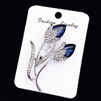 Blue Rose Flower corsage brooch crystal brooch Price in Singapore