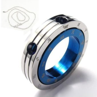 Harga Okdeals Stainless Steel Constellation Ring Pendant Necklace blue