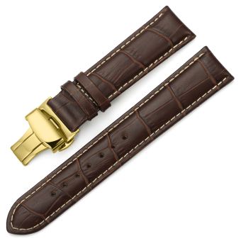 iStrap 20mm Calf Leather Watch Band Strap W/ Golden Tone Steel Push Button Deployment Buckle Brown