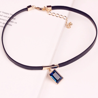 Japan and South Korea Cool Fang Zuan neck strap neck chain collar Female Harajuku neck jewelry short paragraph clavicle chain Korea leather cord necklace