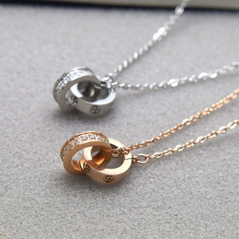 Japan and South Korea LOVE double loop necklace female diamond does not fade simple jewelry 18k rose gold color gold short paragraph clavicle chain