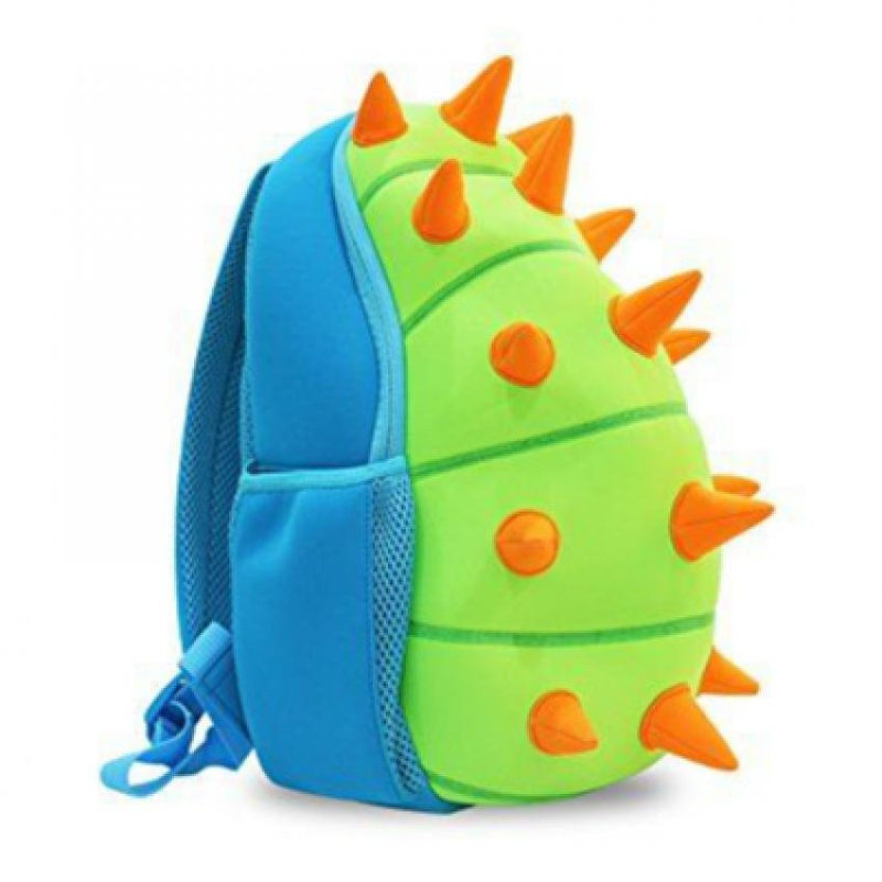 KinderBrands Nohoo Ergonomic 3D Zoo Animal Spikes Kids' Neoprene Backpack School Bag – Blue & Green