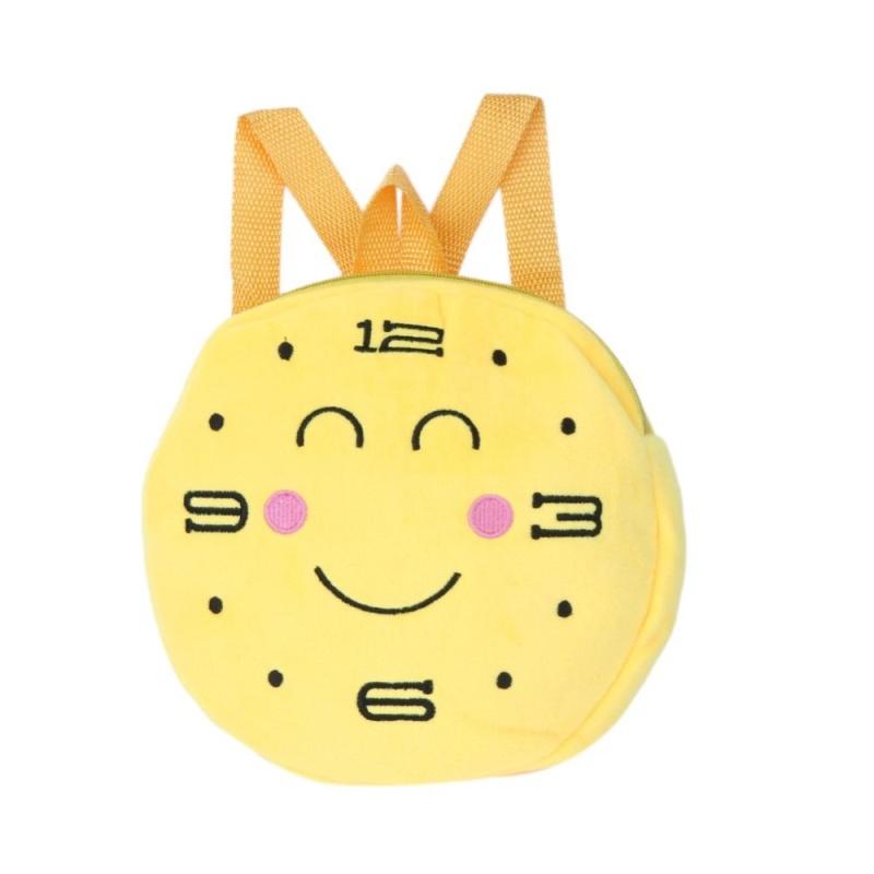 Kindergarten Children Round Emotion Kiss Peach Heart Embroidery Backpack(Yellow) - intl
