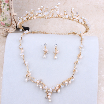 Korean bridal necklace three sets of gold wedding headdress necklace earrings wedding dress accessories product simple style