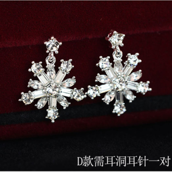 Korean-Style New Style Earrings Snowflake Earrings No Ear Hole Ear Clip Bride Wedding Jewelry Clip-On Fake Earrings Female