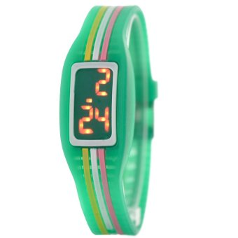 Harga LED Multi-Colored Silicone Children Watch (Light Green)