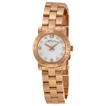 Harga Marc Jacobs MBM3078 Mini Amy White Dial Rose Gold-tone StainlessSteel Ladies Watch
