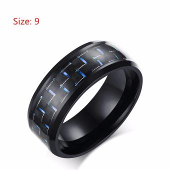 Men's Jewelry Black Ceramic Classic Rings Carbon Fiber Ring - intl