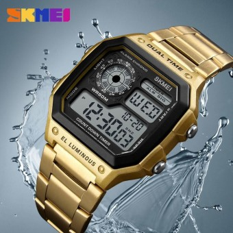 Men's Watches SKMEI Top Brand Luxury Sports Business Watches Stainless Steel Fashion Waterproof Quartz Digital Wristwatch