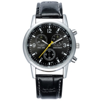... Mens Watches Fashion Business Quartz Watches Waterproof Wristwatch Leather Strap Watches Black intl