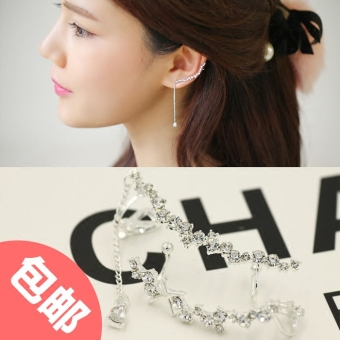 Ms. Korea crystal flash diamond fake earrings ear bone clip