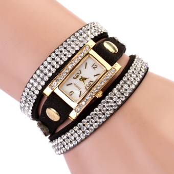 New Women Luxury Leather Quartz Gold Wrist Watch Black