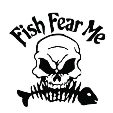 Novel Fish Fear Me Word Scary Cool Go Fishing Skull Skeleton Pattern Car Cover Waterproof Sticker