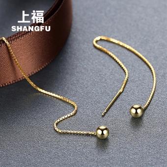 On the blessing 925 silver ear wire female tassel earrings long section of earrings beads ear chain Korean temperament rose gold earrings