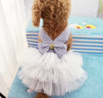 Harga Pet Dogs Bubble Skirt with Bowknot Princess Dress blue