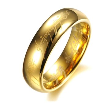 promotion unisex Lord of the Rings Stainless Steel Ring Gold +1xfree box - intl