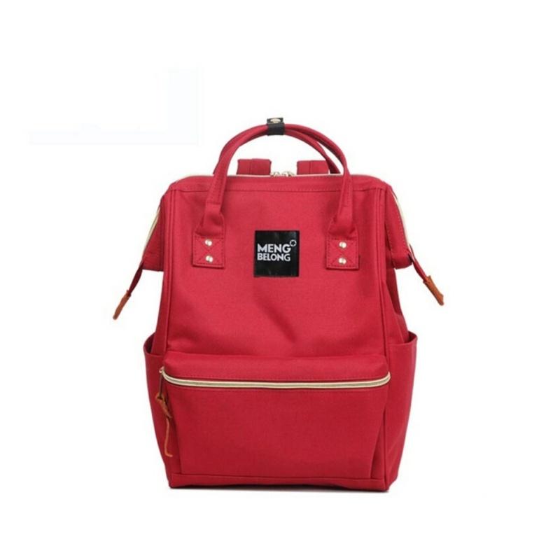 {Red}Japan Korean School Canvas Bag Nylon Backpack - intl