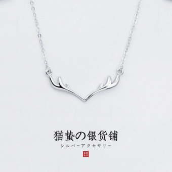 S925 cat sting sterling silver short paragraph Christmas's day elk clavicle chain