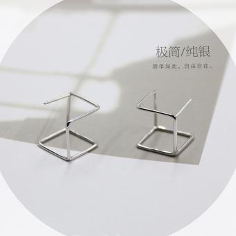 S925 Japan and South Korea geometric cube body hollow earrings sterling silver earrings