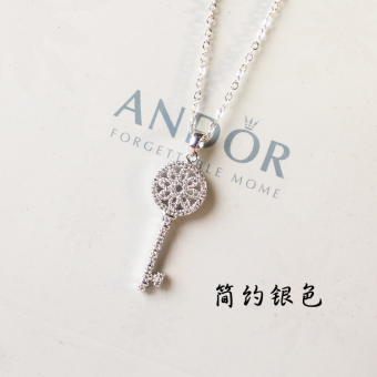 S925 sterling silver Japan and South Korea simple sweet birthday gift accessories products CROWN key pendant short paragraph clavicle necklace female