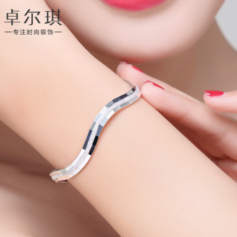S999 sterling silver bracelet female day Korean-style Cool minimalist opening fine silver bracelet child fashion student silver jewelry lettering