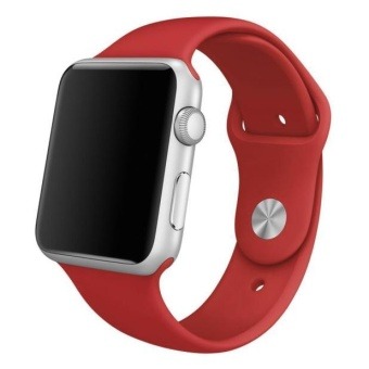 Short Sports Silicone Bracelet Strap Band For Apple Watch 38mm RD -intl - 2