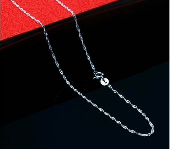 Silver silver plated White Gold Wave necklace