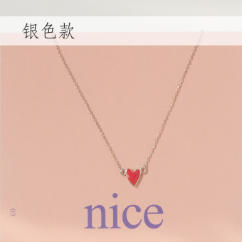 Small elk people handmade drop oil gold red love S925 sterling silver necklace Japan and South Korea soft sister clavicle chain Valentine's gift female