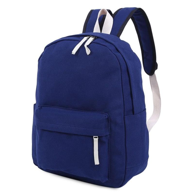Solid Color Canvas Schoolbag Backpack - intl