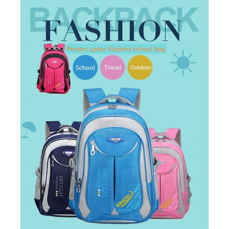 Student Kids School Bag Large Capacity Waterproot Protect The Spine Backpack Back To School ( Sky Blue Large Size ) - intl