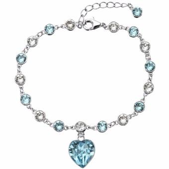 Swarovski Crystals EleQueen 925 Sterling Silver Love Heart Tennis Bracelet Aquamarine Color Adorned - intl