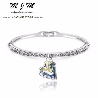 Harga Swarovski Elements Clear Blue Heart Crystal Bracelet