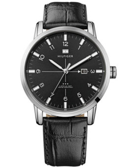 Harga Tommy Hilfiger George Black Dial and Leather Strap Men's Watch 1710330