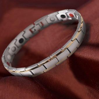 Ubest Unique Men Titanium Steel Health Energy Bracelet Solid Color Magnetic Bracelet - intl .