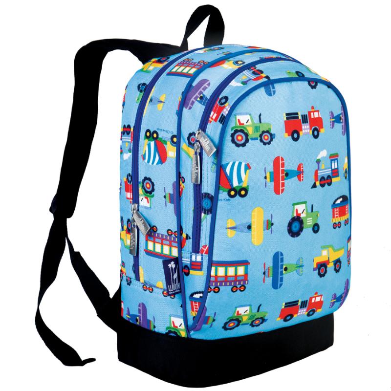 Wildkin Olive Kids Trains, Planes & Trucks Sidekick Backpack School Bag
