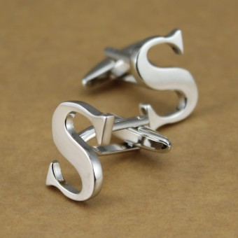 Xin Na men's English letter cufflinks French cufflinks silver