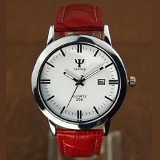 YAZOLE Classical Women Leather Band Fashion Joker Bussiness Quartz Wrist Watch YZL298 Red .