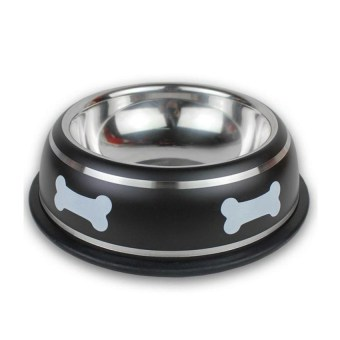 YKK Anti-skid Stainless Steel Bone Printed Pet Dog Bowl