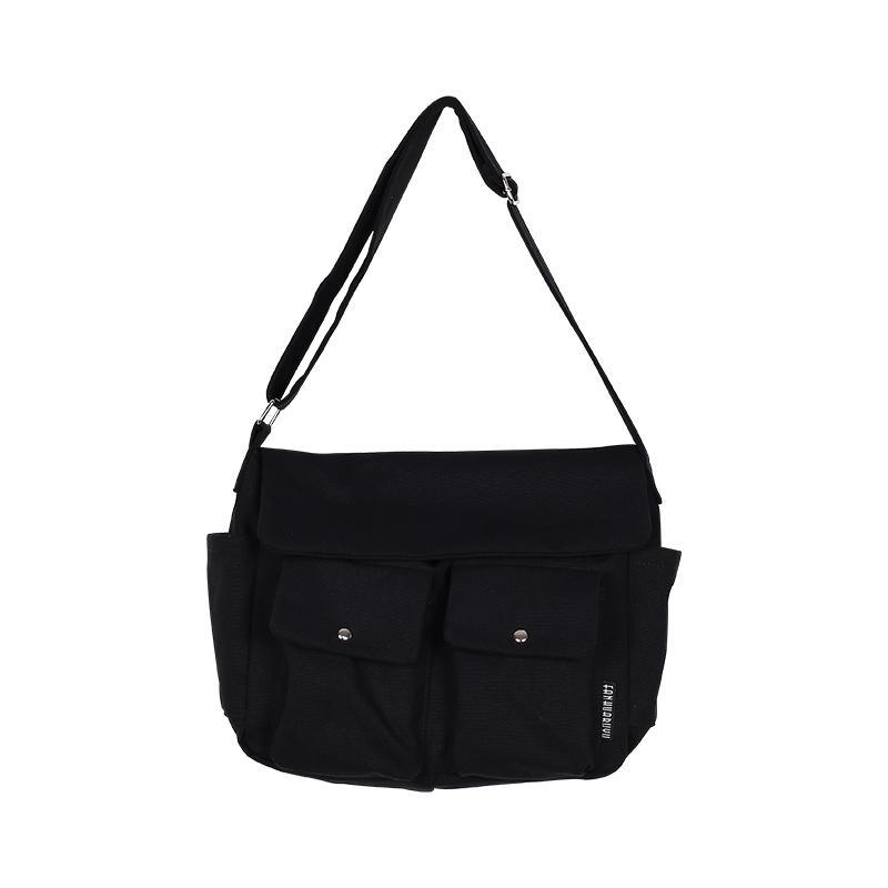 มหาสารคาม FANHUABUYU สาธารณรัฐเกาหลีแฟชั่นกระเป๋าผ้าใบกระเป๋าสะพายข้างนักเรียนลำลอง INS เสื้อผ้าแฟชั่น ใหม่เรียบง่ายไหล่ข้างเดี่ยวกระเป๋าผ้าแบบเย็บ