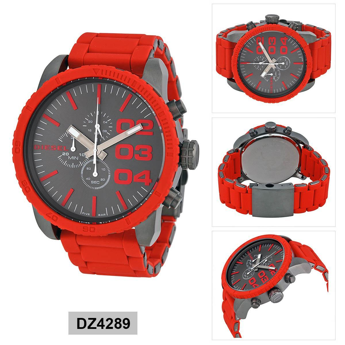 การใช้งาน  พังงา Authentic Diesel Double Down Red Stainless-Steel Case Silicone Strap Mens DZ4289 2 Years Warranty