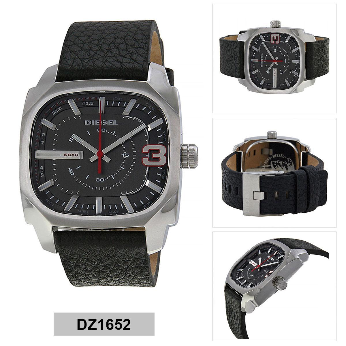 ยี่ห้อไหนดี  นครศรีธรรมราช Authentic Diesel Black Stainless-Steel Case Leather Strap Mens DZ1652 2 Years Warranty