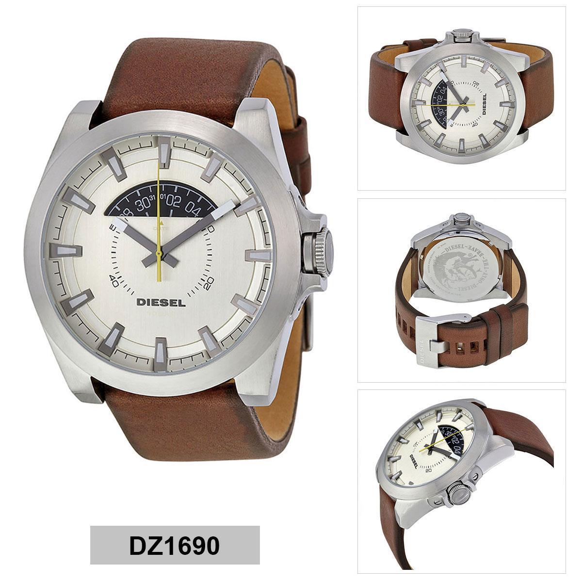 ยี่ห้อไหนดี  พัทลุง Authentic Diesel Brown Stainless-Steel Case Leather Strap Mens DZ1690 2 Years Warranty