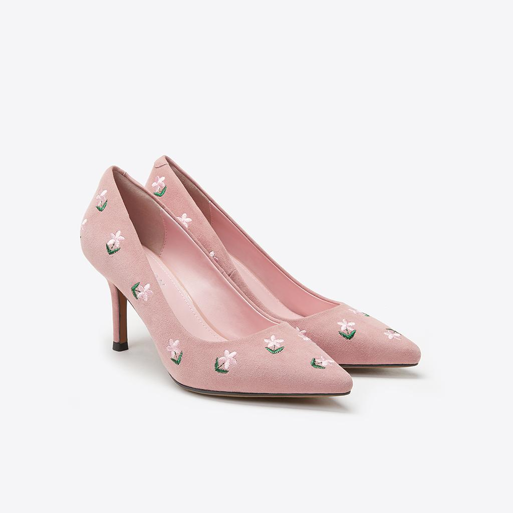 [SALE] PAZZION LT828 11 Pink Floral Embroidery Heels