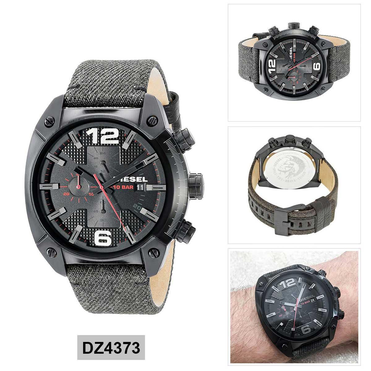ยี่ห้อนี้ดีไหม  อ่างทอง Authentic Diesel Black Stainless-Steel Case Cloth Strap Mens DZ4373 2 Years Warranty