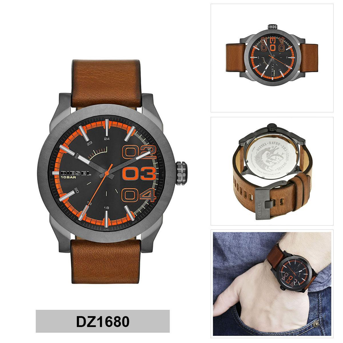 ยี่ห้อไหนดี  กรุงเทพมหานคร Authentic Diesel Brown Ion Plated Stainless-Steel Leather Strap Mens DZ1680 2 Years Warranty