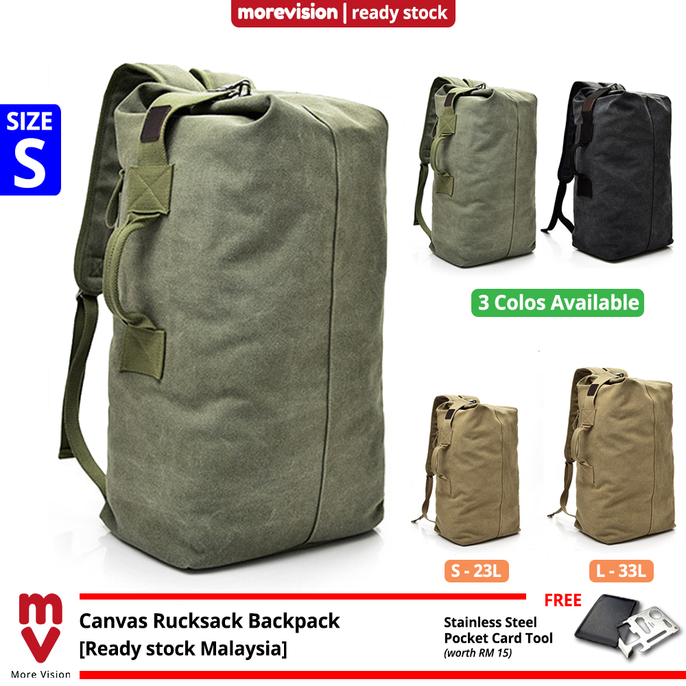 MV Bag Canvas Sports Backpack Beg Men Large Korean Rucksack Army Military Tactical Outdoor Travel MI5922