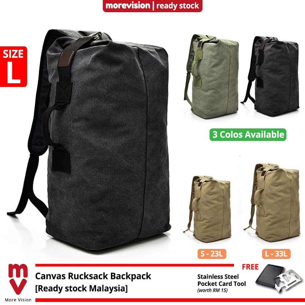 MV Bag Canvas Sports Backpack Beg Men Large Korean Rucksack Army Military Tactical Outdoor Travel MI5924