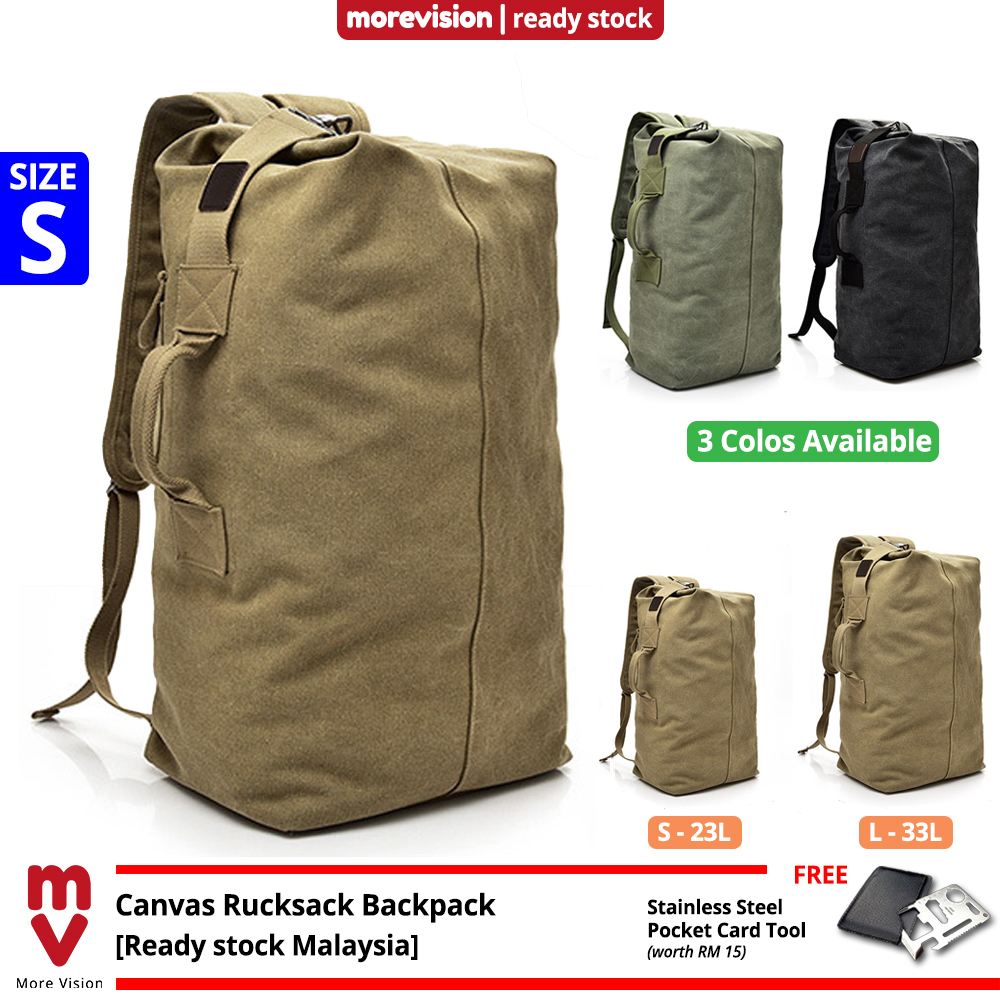 MV Bag Canvas Sports Backpack Beg Men Large Korean Rucksack Army Military Tactical Outdoor Travel MI5923