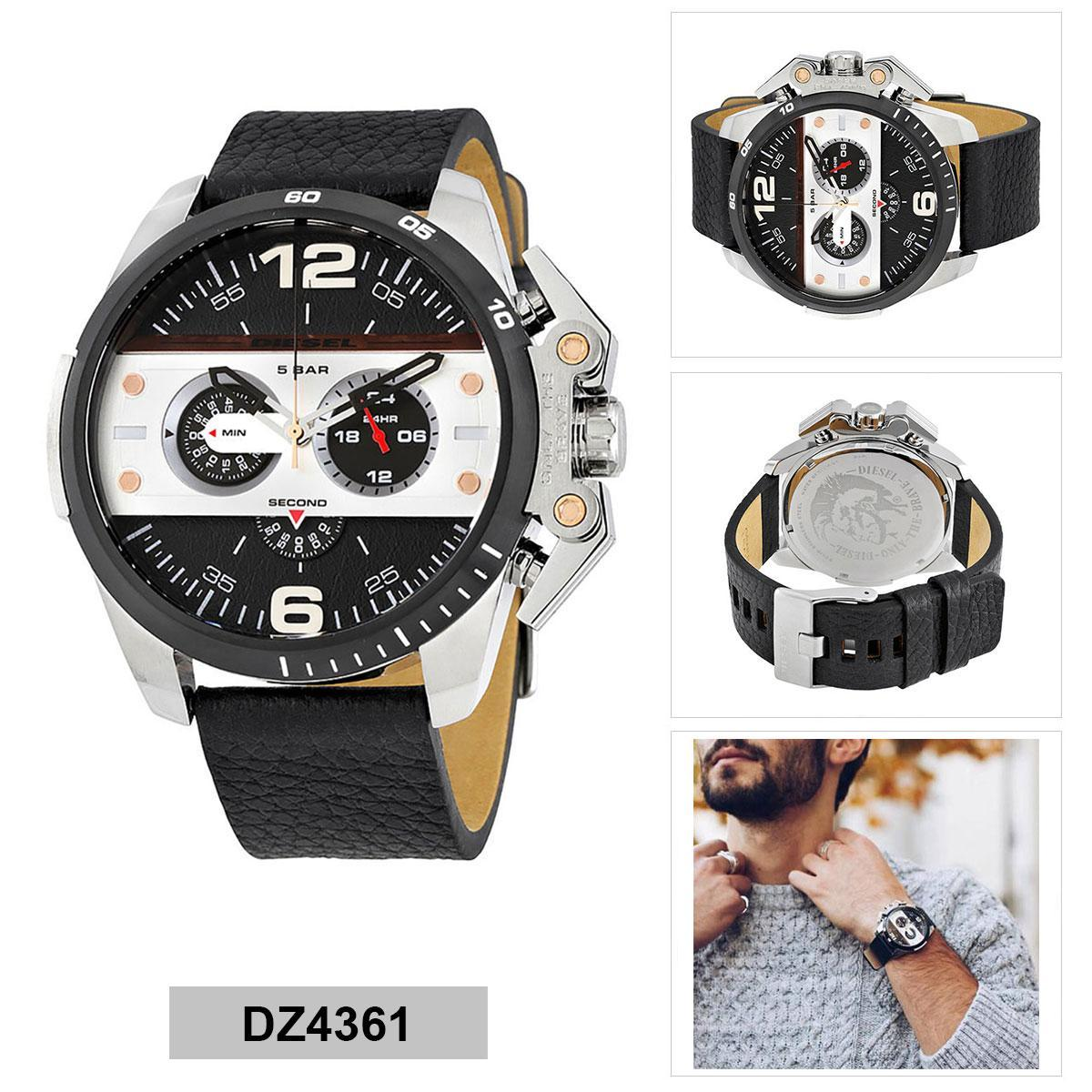 กระบี่ Authentic Diesel Black Stainless-Steel Case Leather Strap Mens DZ4361 2 Years Warranty